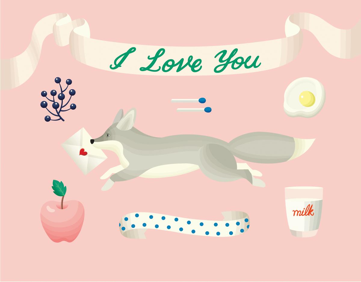Retro Fox I Love You Card