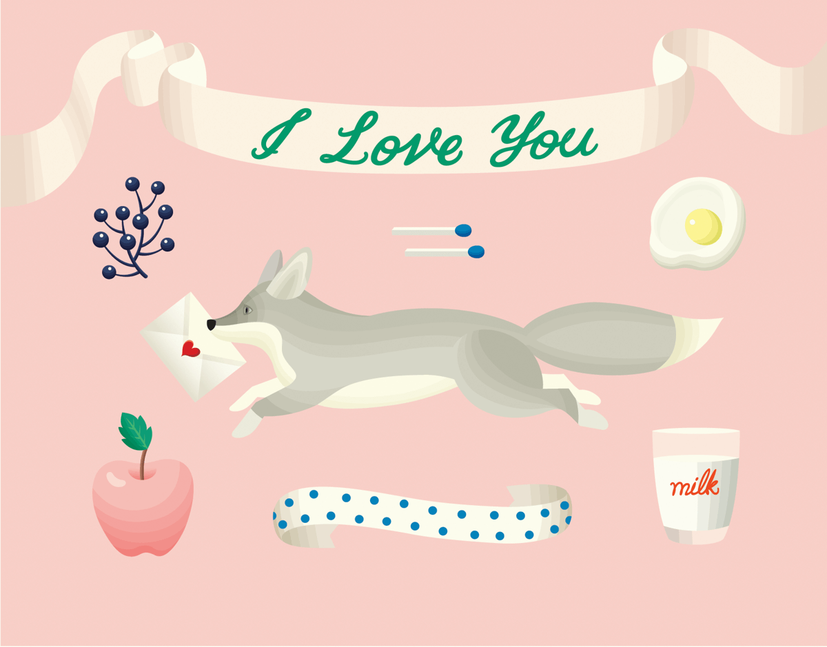 Retro Fox I Love You Card