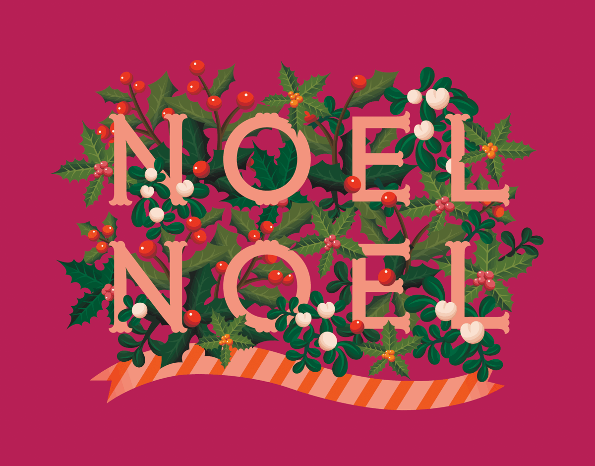 Raspberry Noel Christmas Card