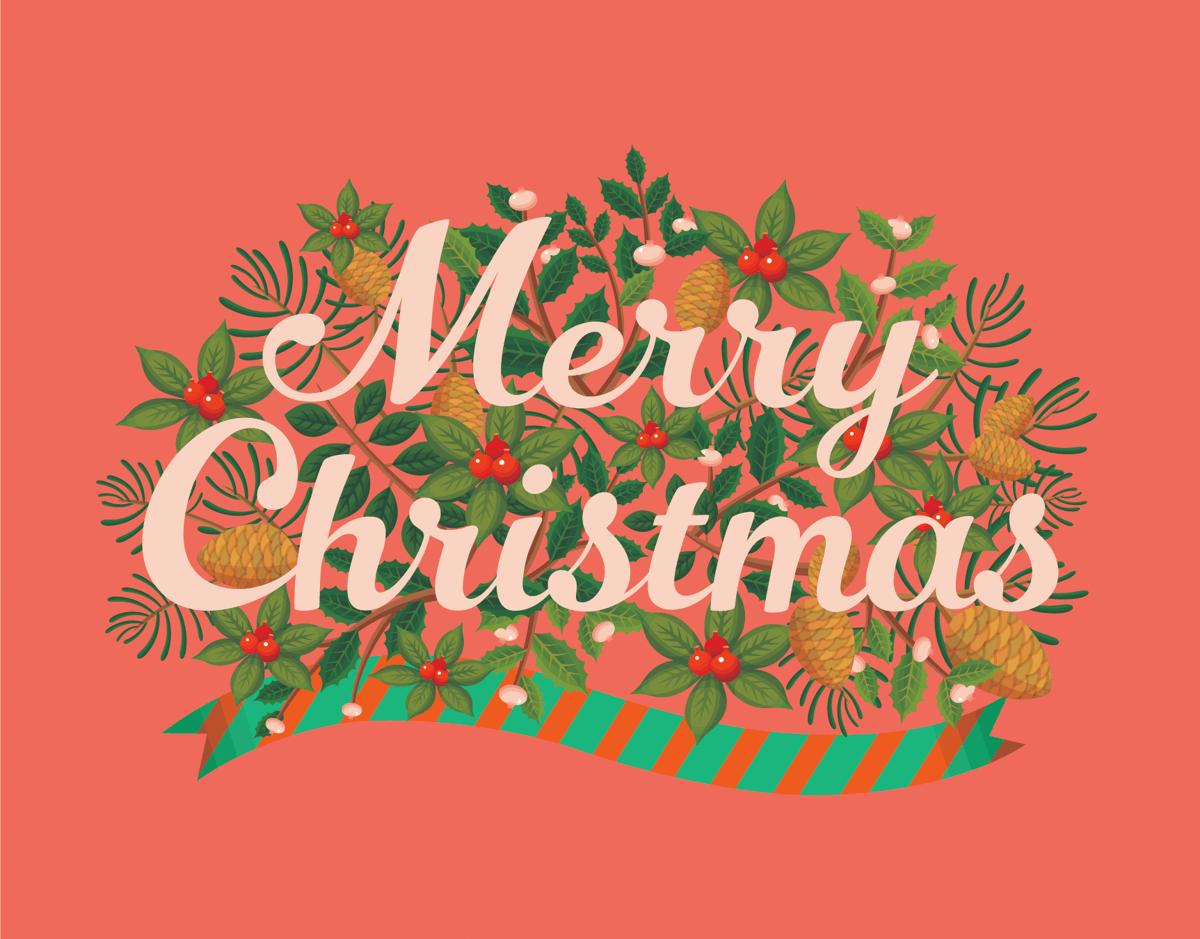 Salmon Pink Merry Christmas Card