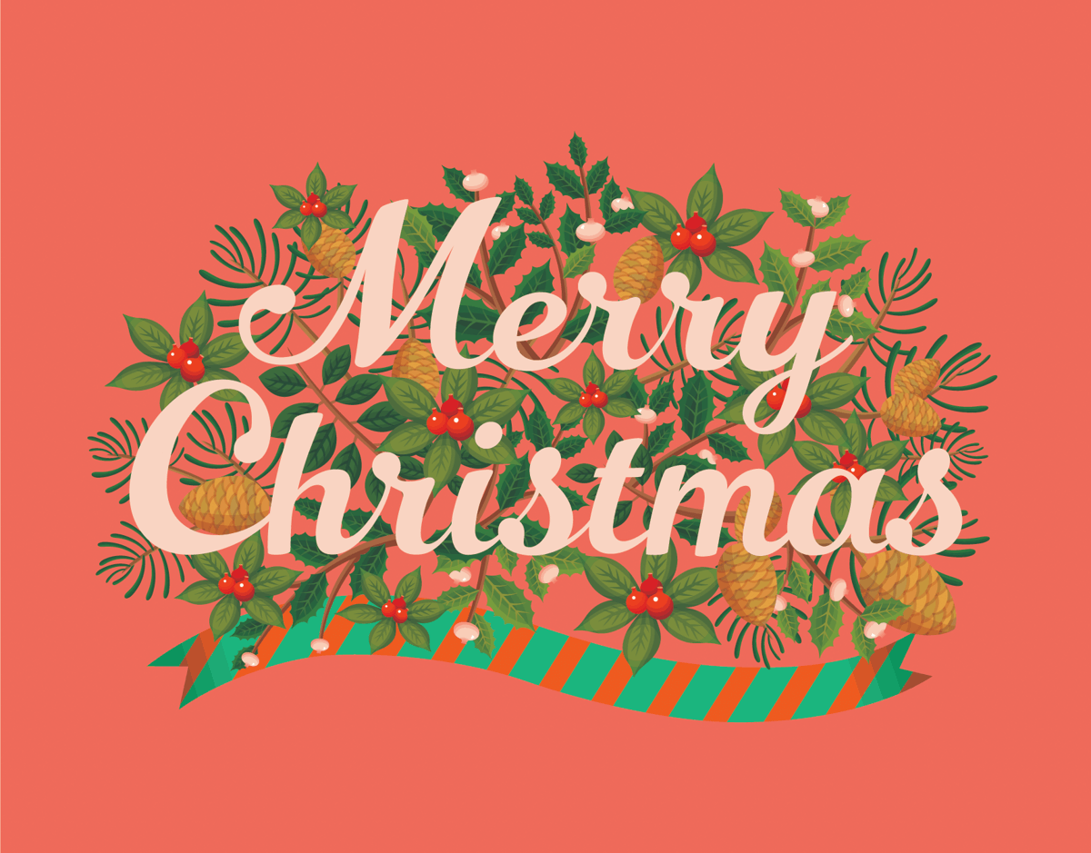 Salmon Pink Merry Christmas Card