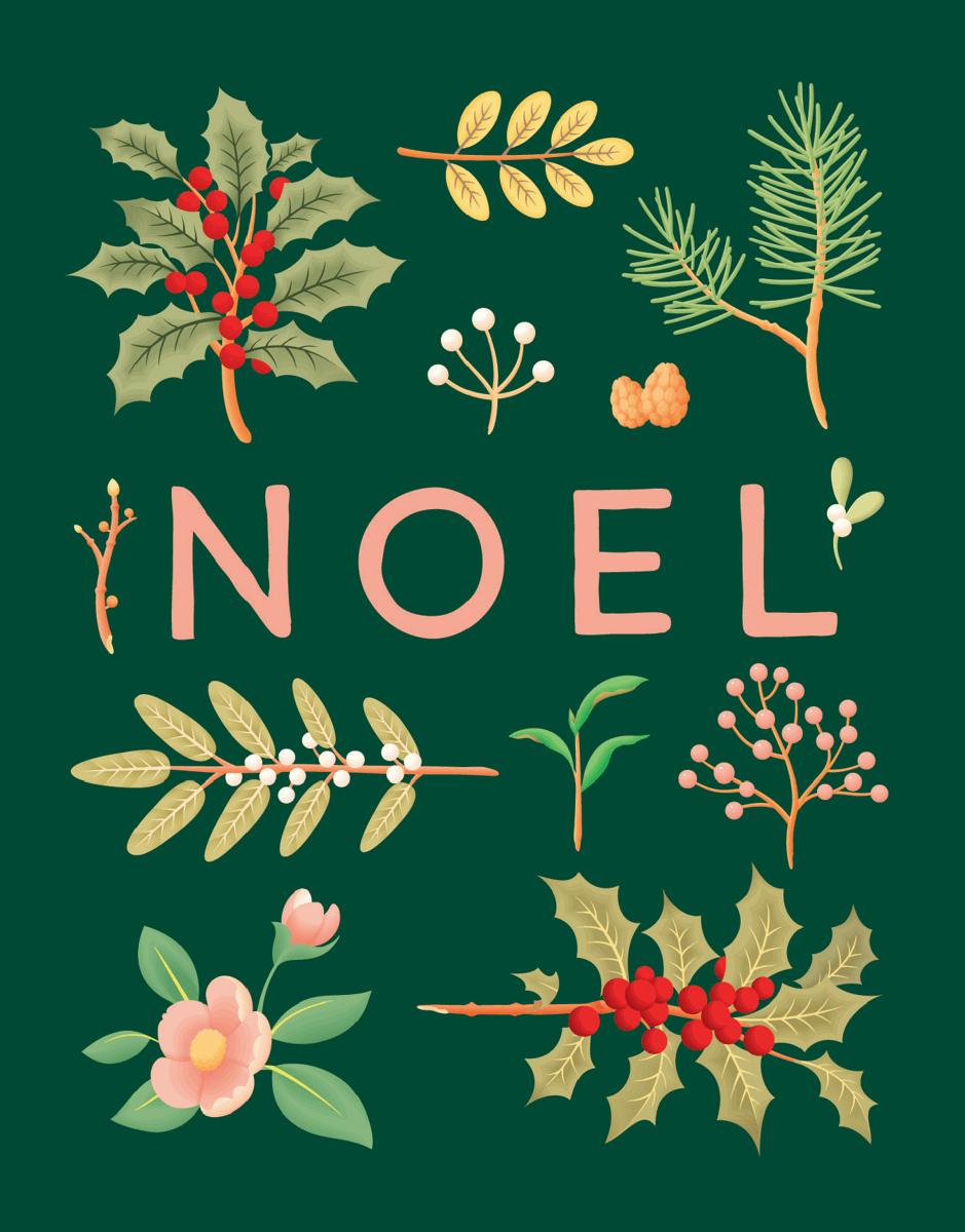green florals noel greeting