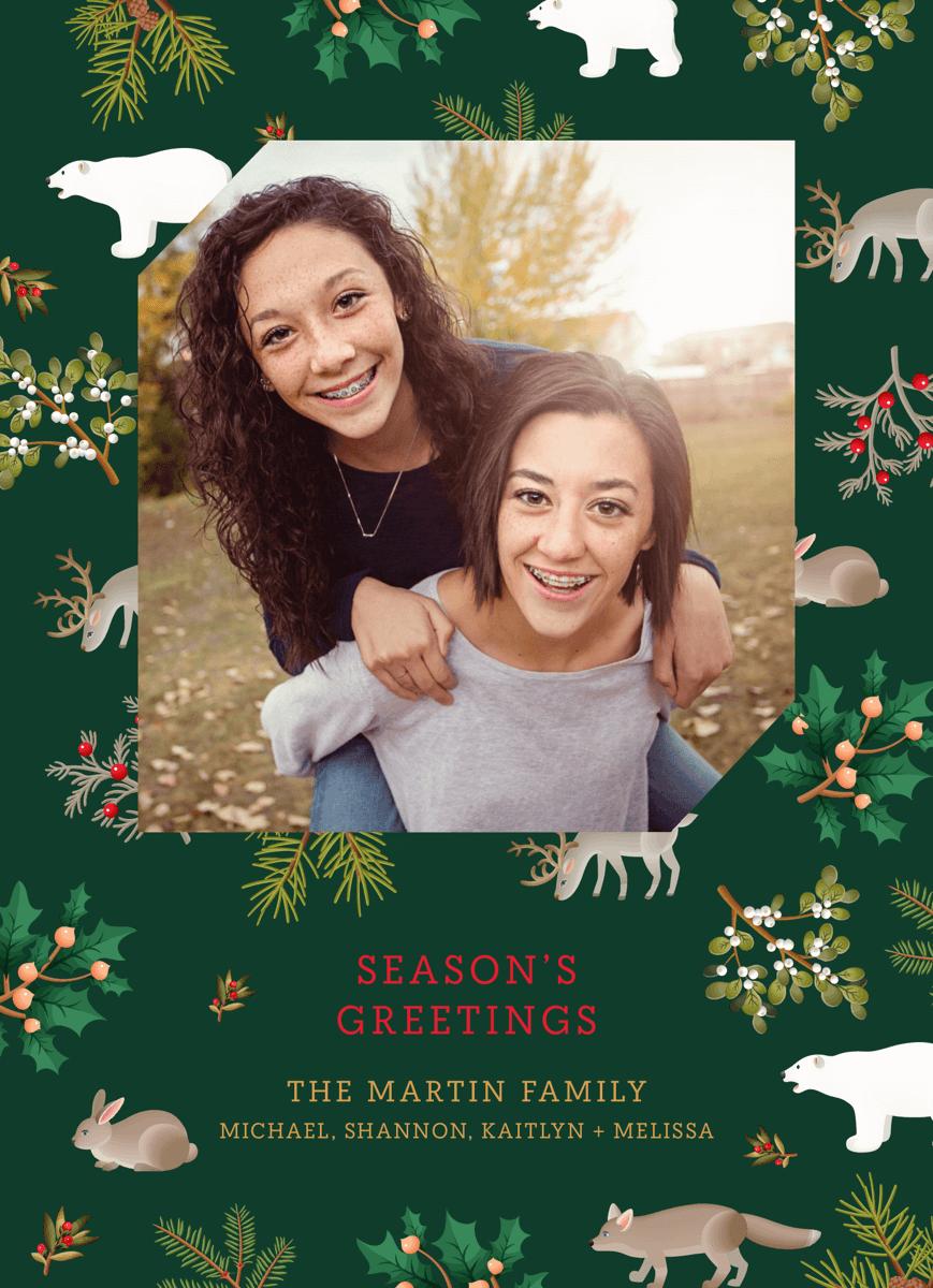 green-winter-animals-photo-holiday-card