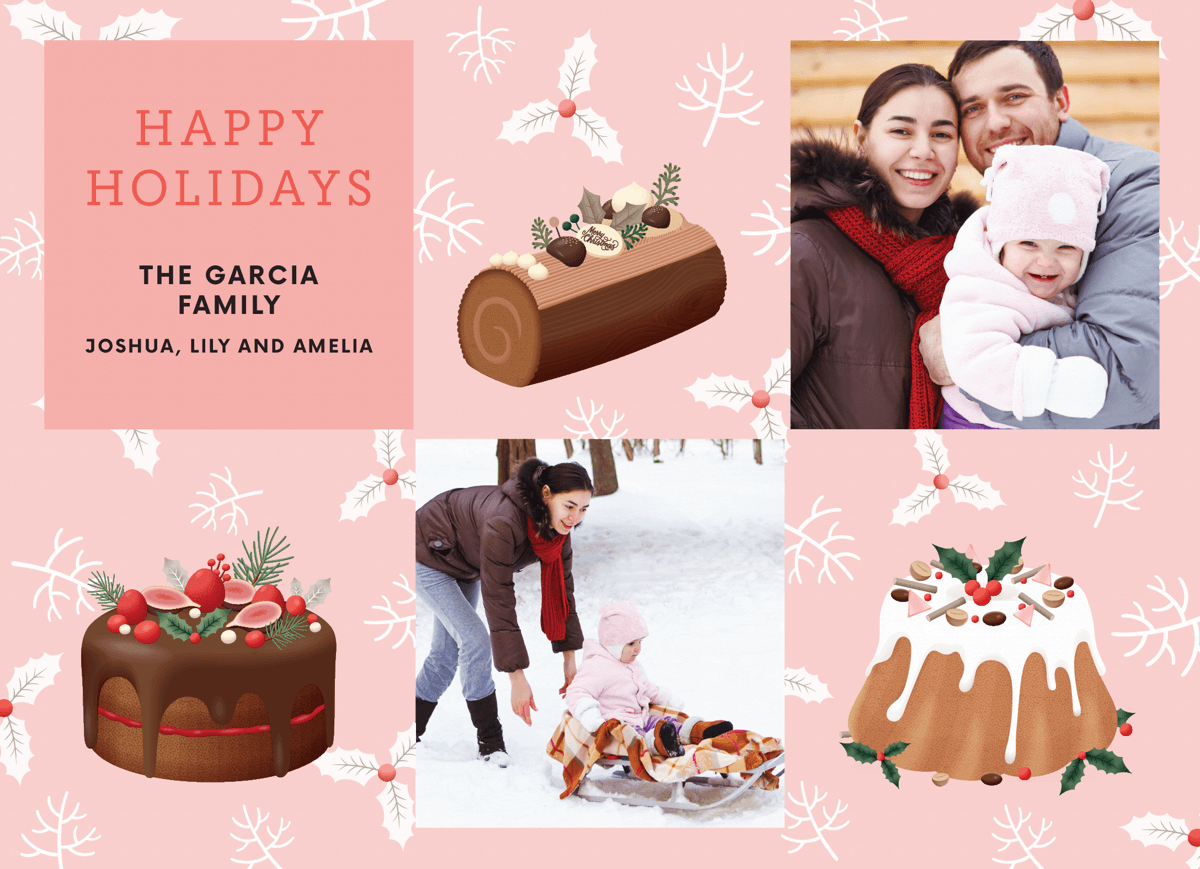 pink-holiday-desserts-holiday-photo-card