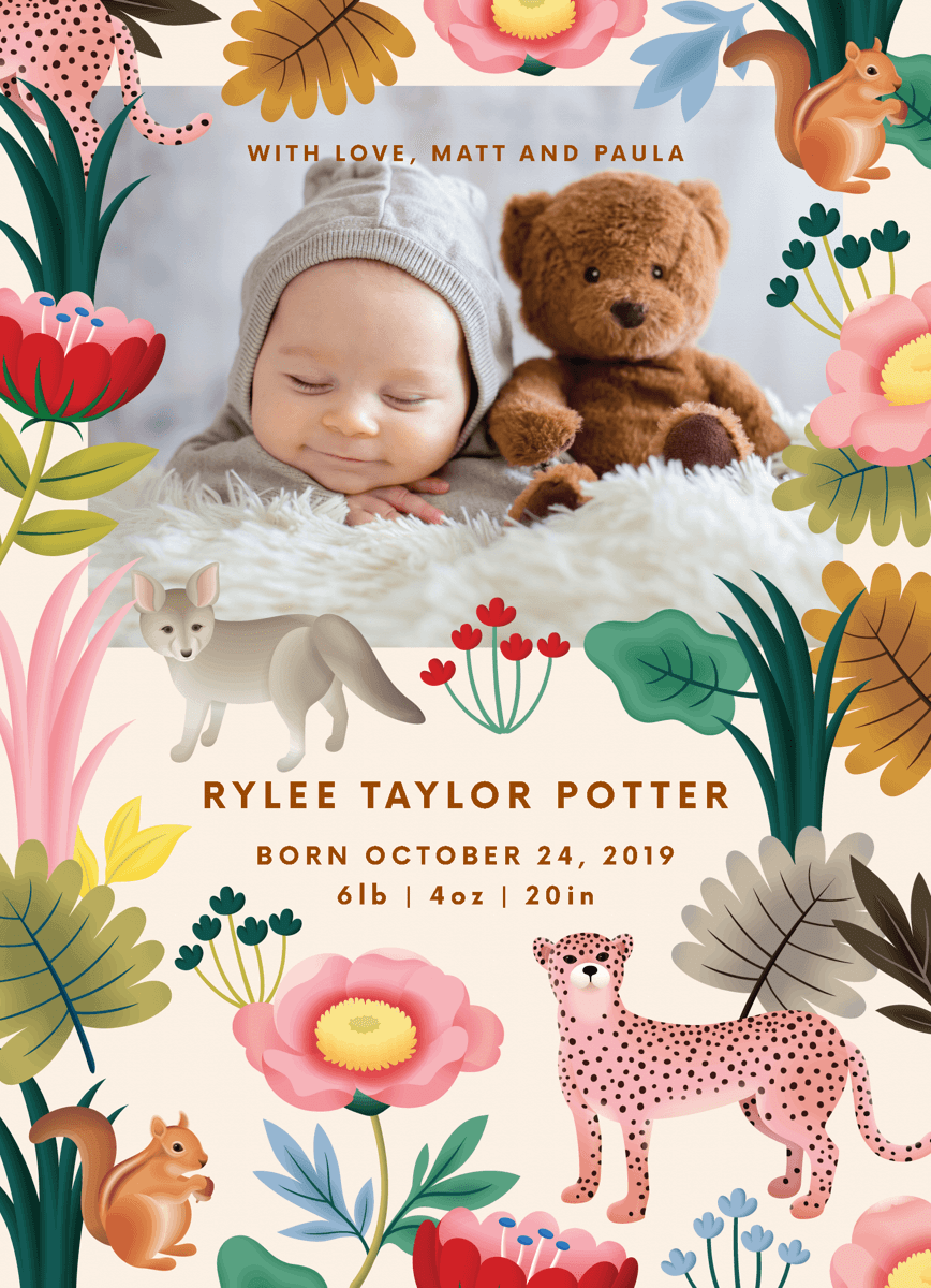 Whimsical Jungle Birth Announcement