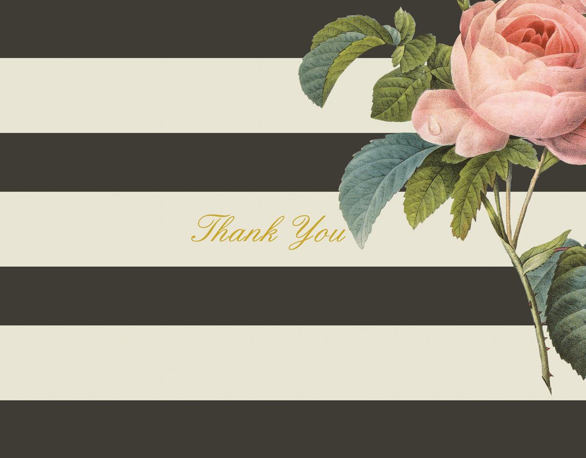 Floral Stripe Thank You Card
