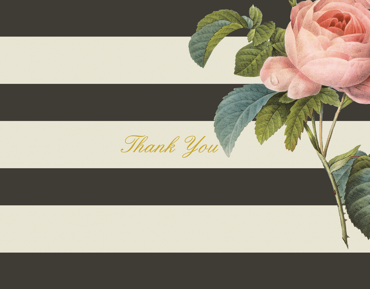 Floral Stripe Thank You Card