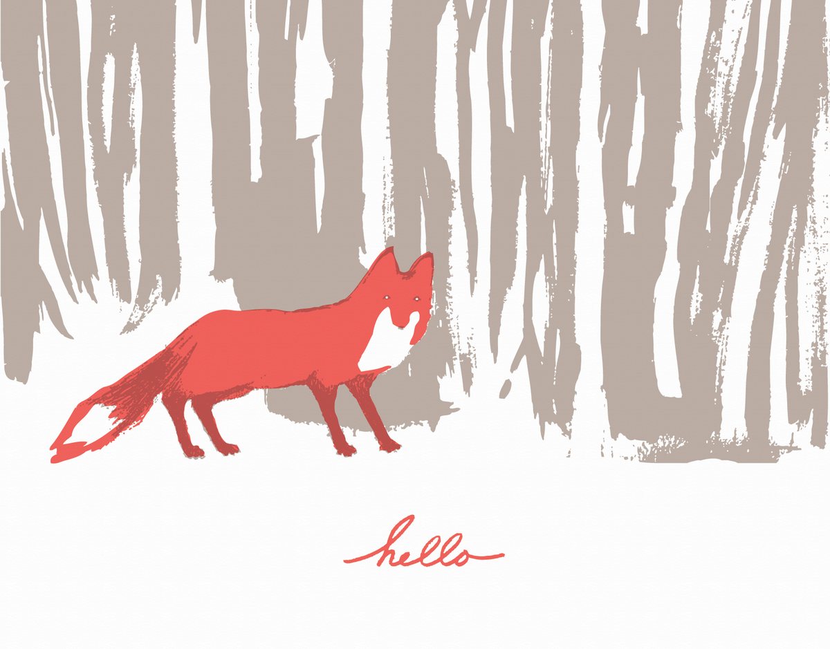 Charming fox hello card