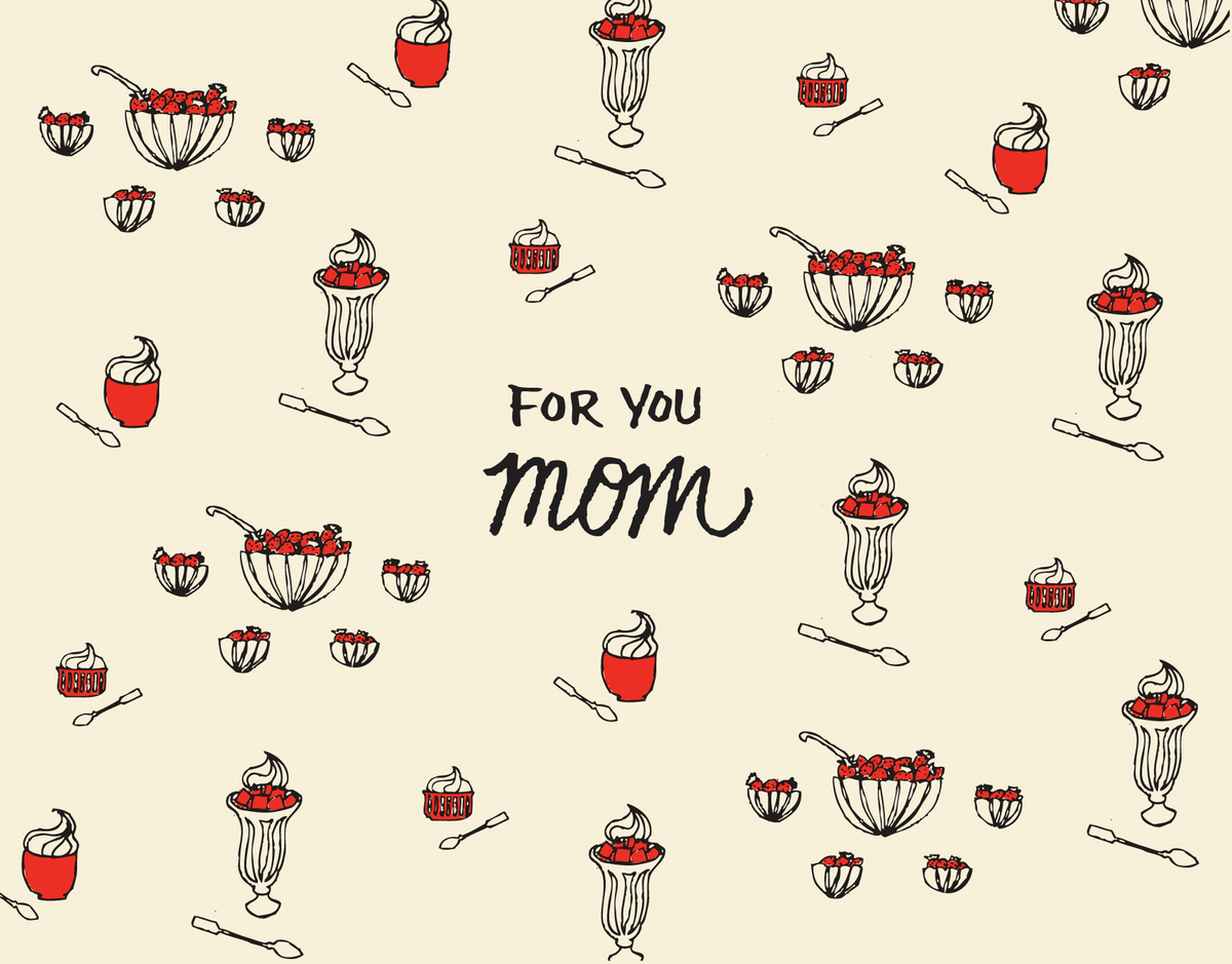 Sweet strawberry drawing mother's day card