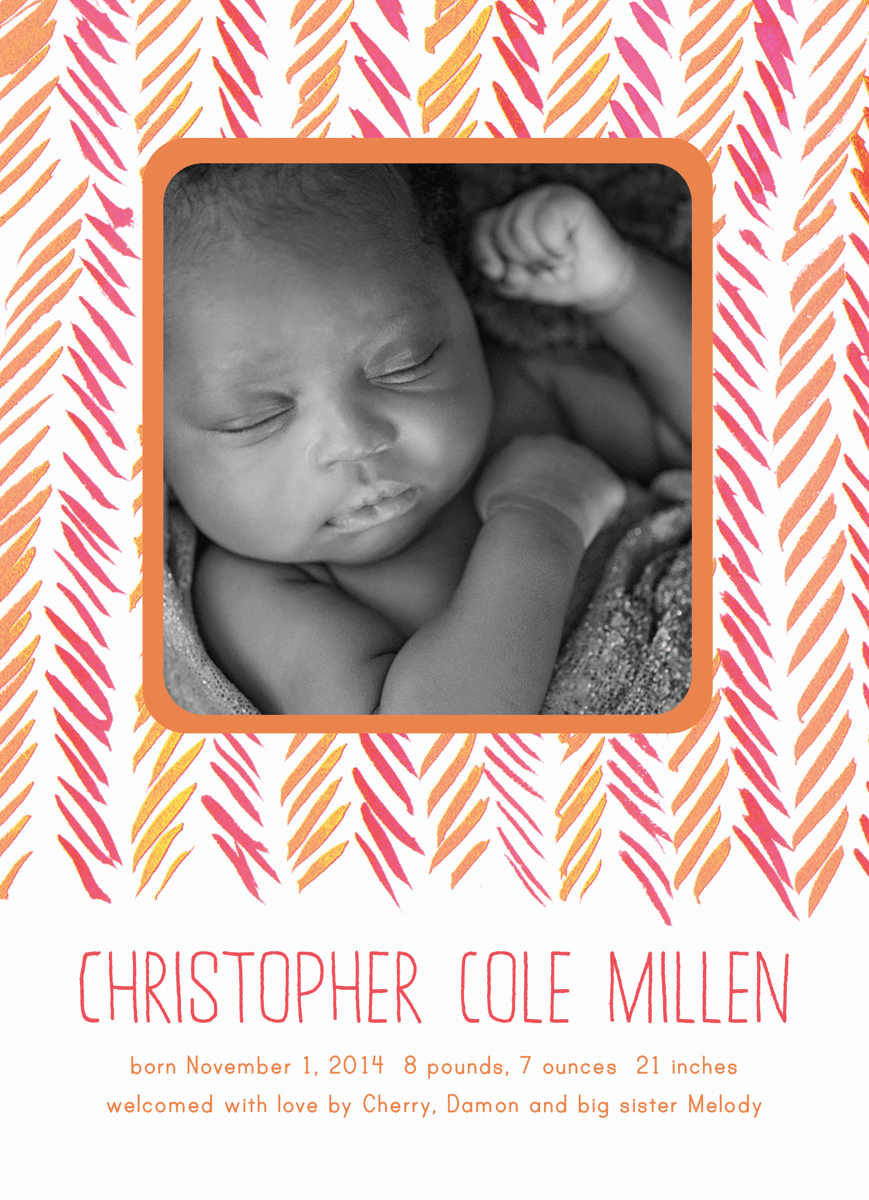 Orange Chevron Birth Announcement