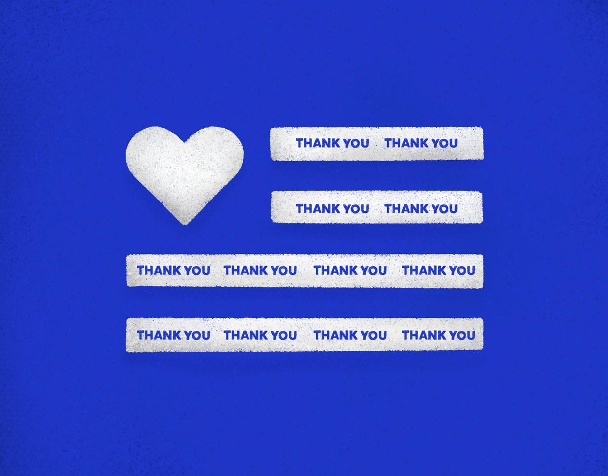 Thank You Flag Blue