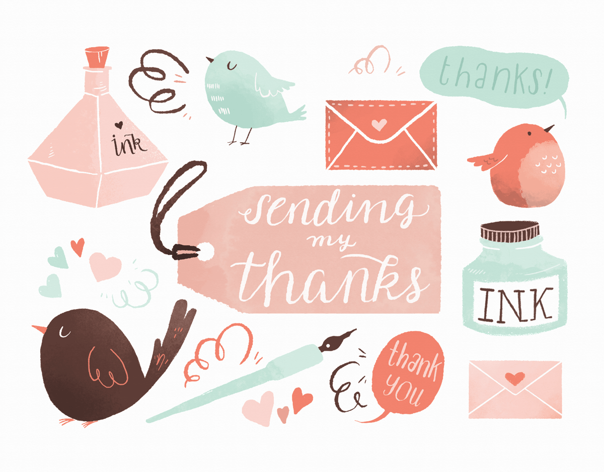 Lovely Hand Painted Thank You Card