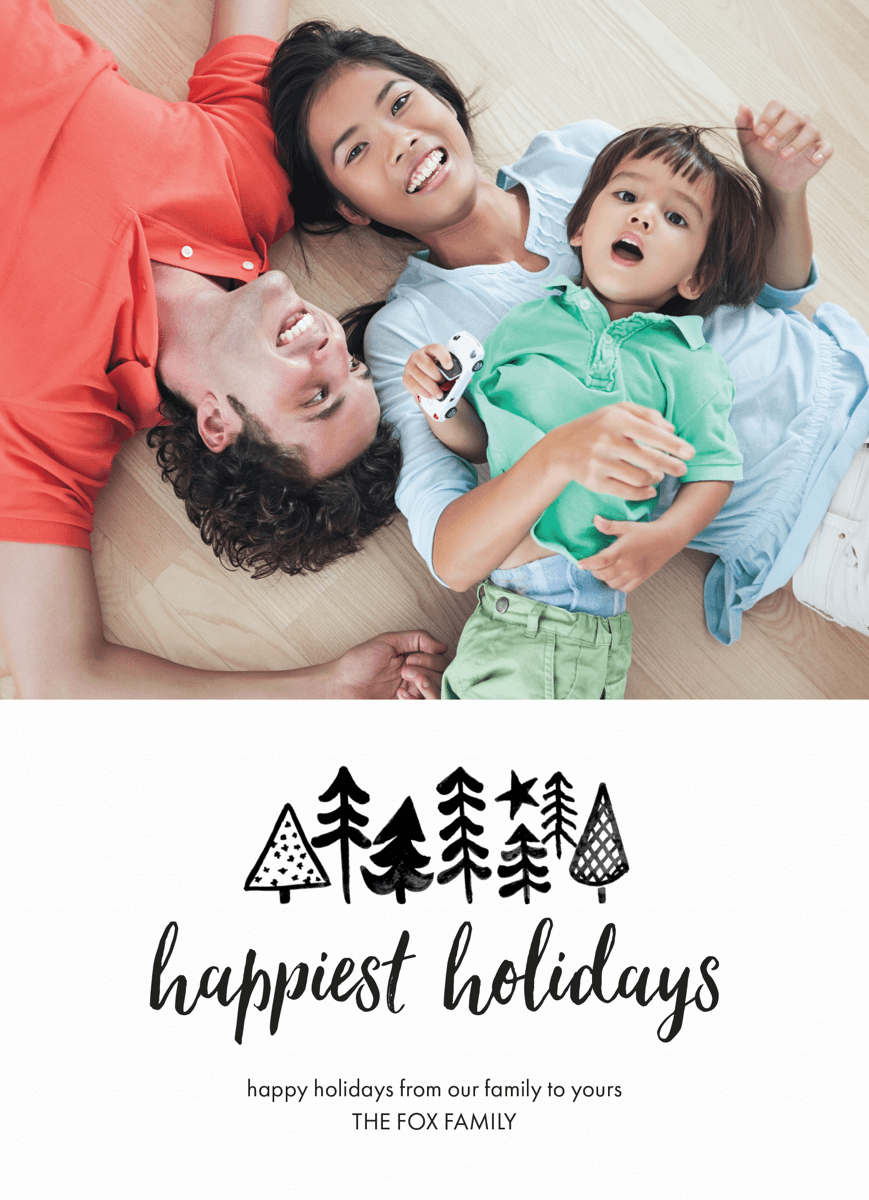 modern black and white happy holidays photo template