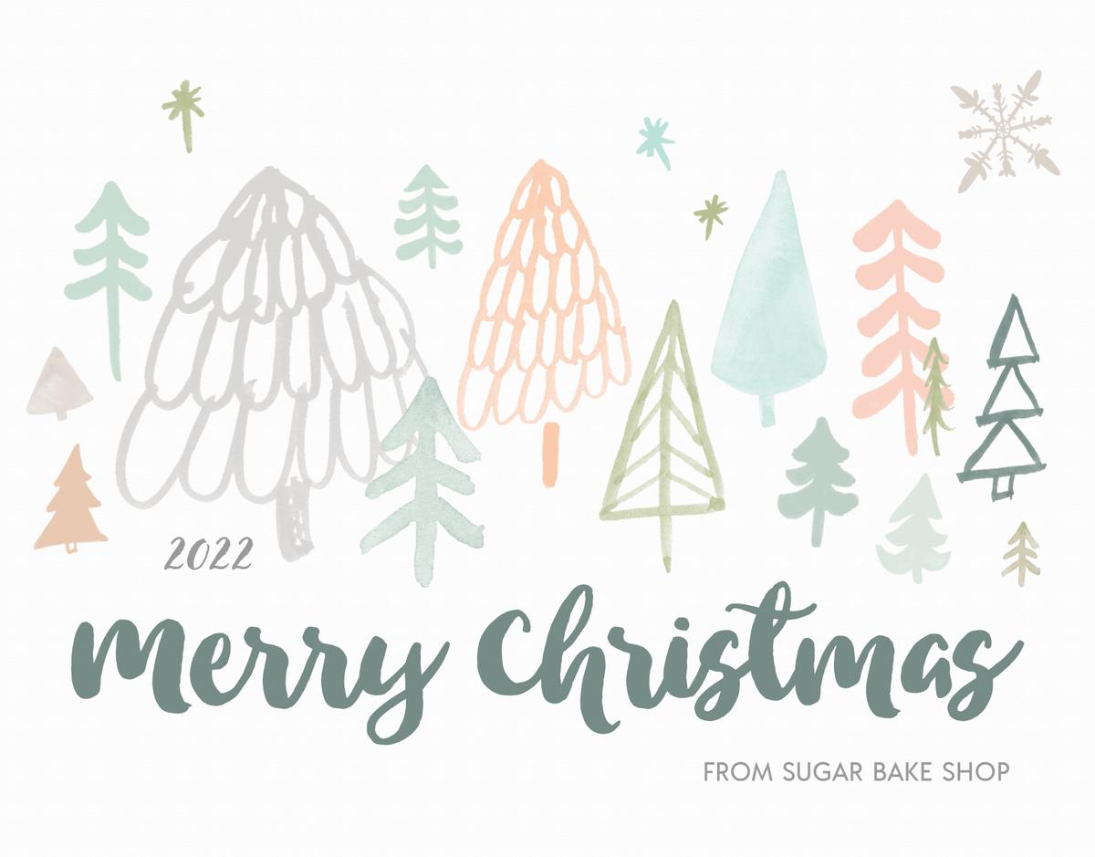 christmas trees illustration merry christmas card