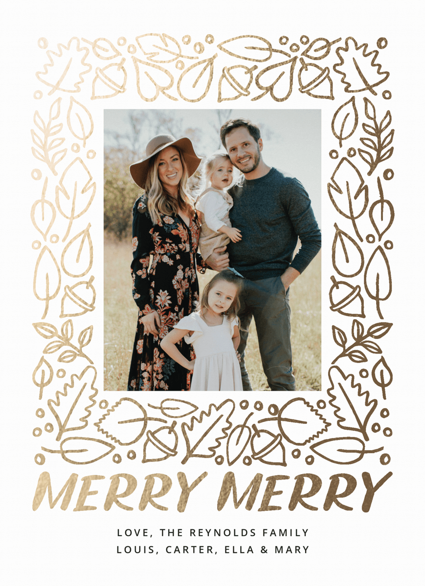 photo holiday card with a gold seasonal frame