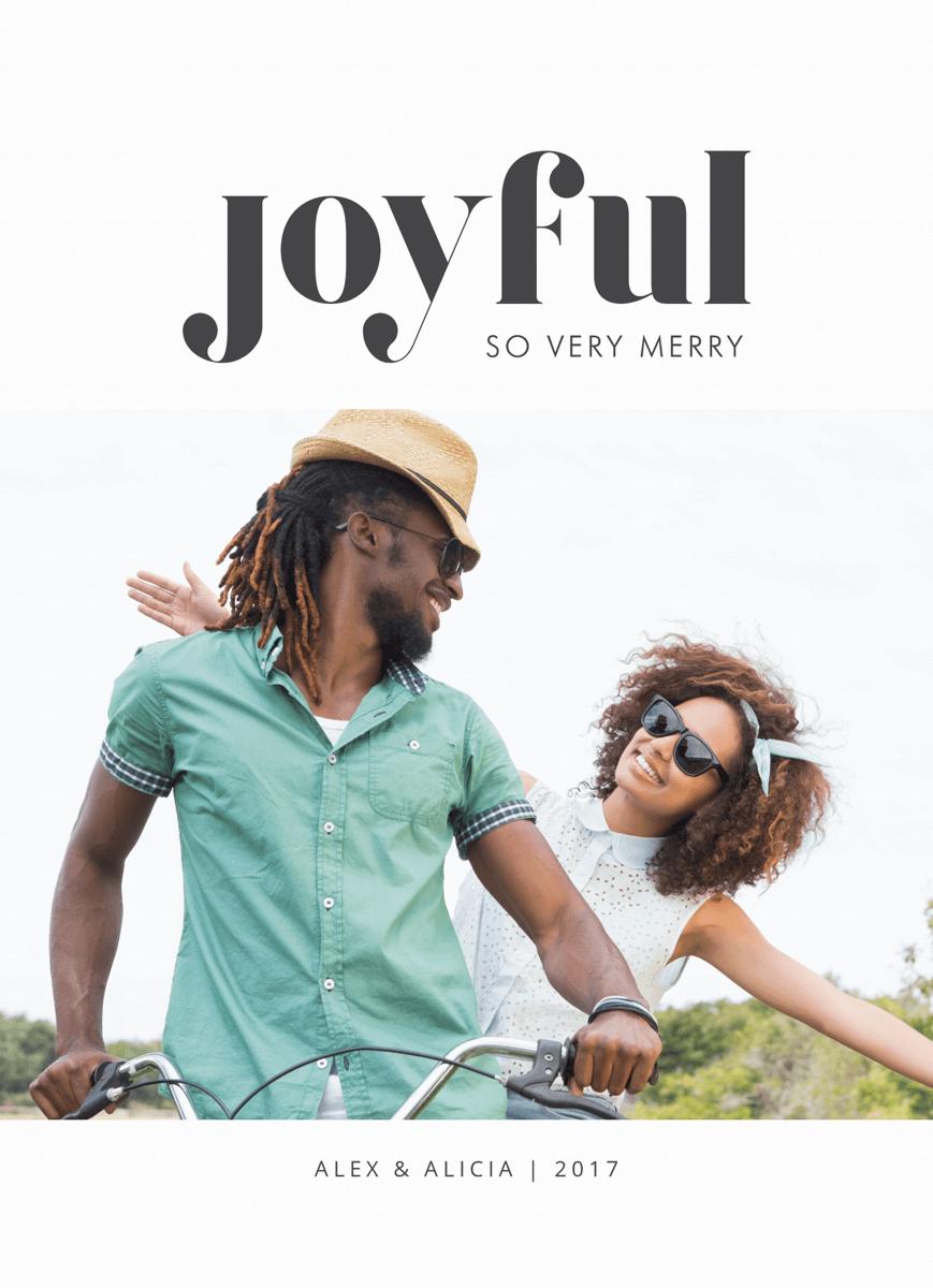 modern joyful holiday photo card with a bold font