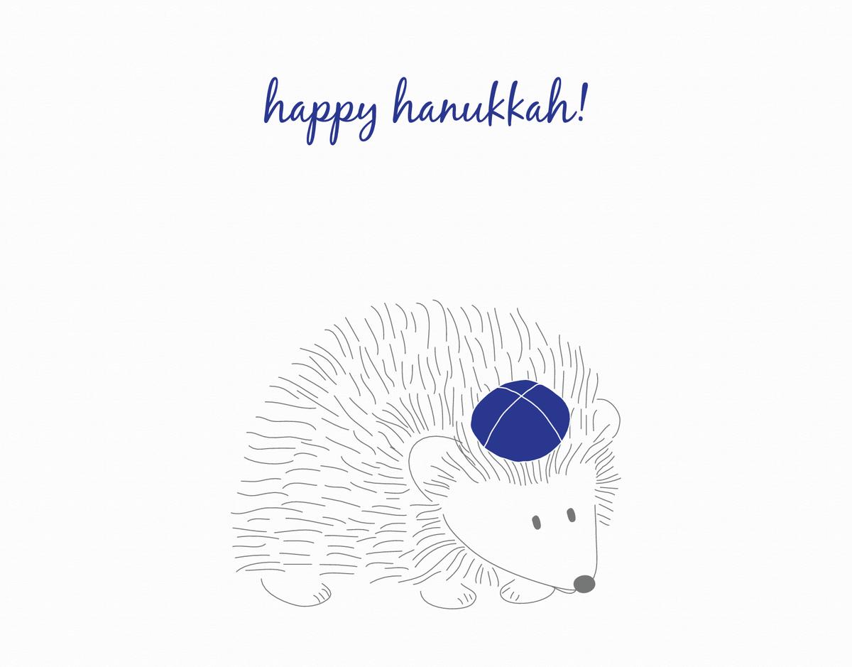 Hedgehog Happy Hanukkah card