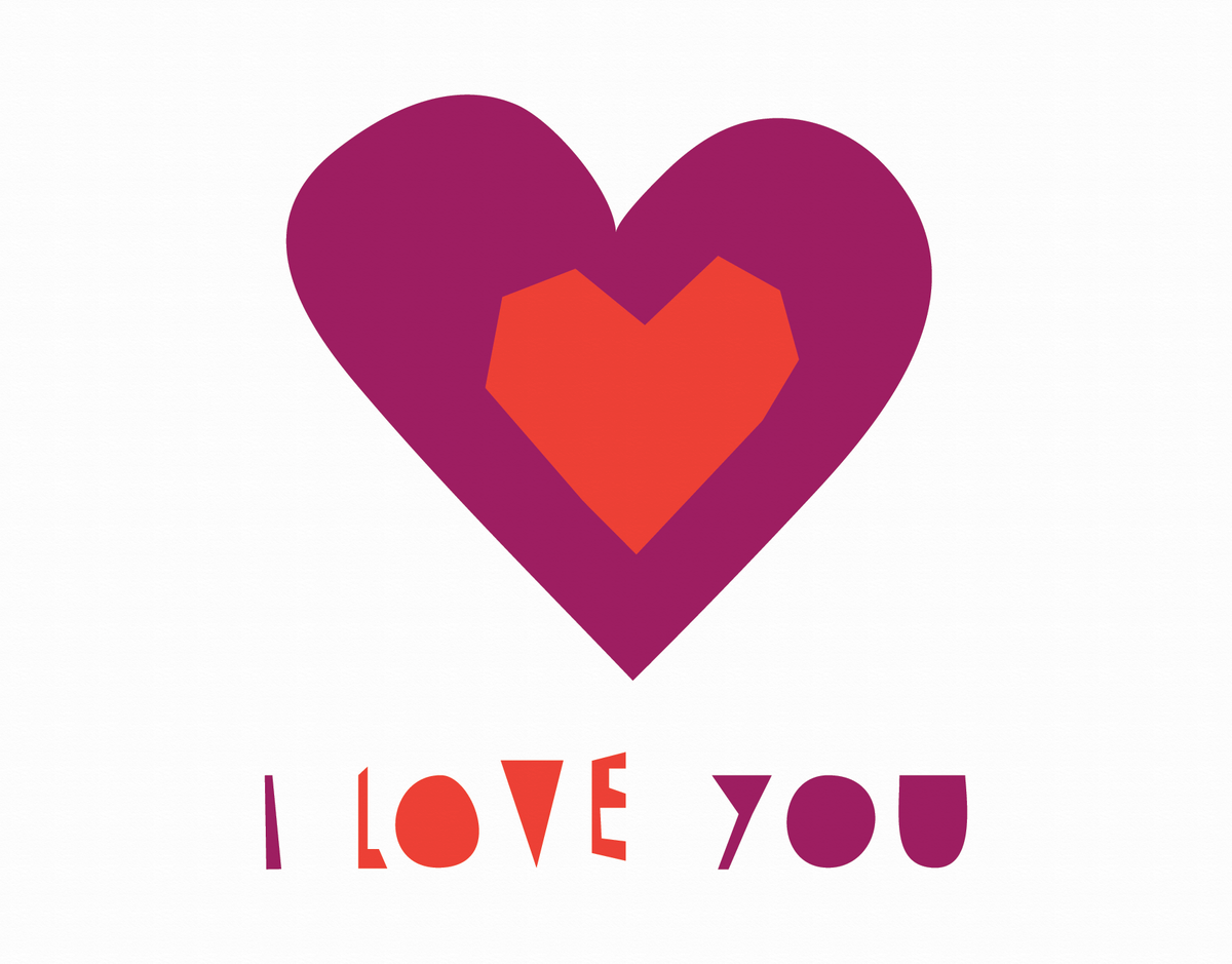 Purple & Red Hearts I Love You Card