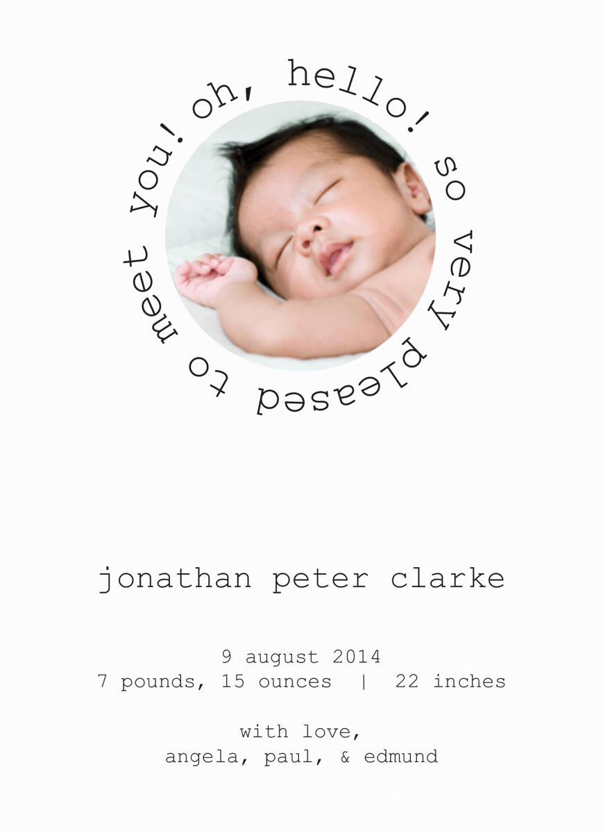 Modern Circle Photo birth announcement