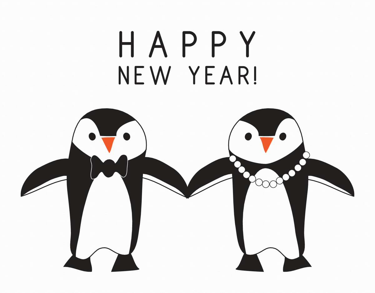 Dressy Penguins Happy New Year Card