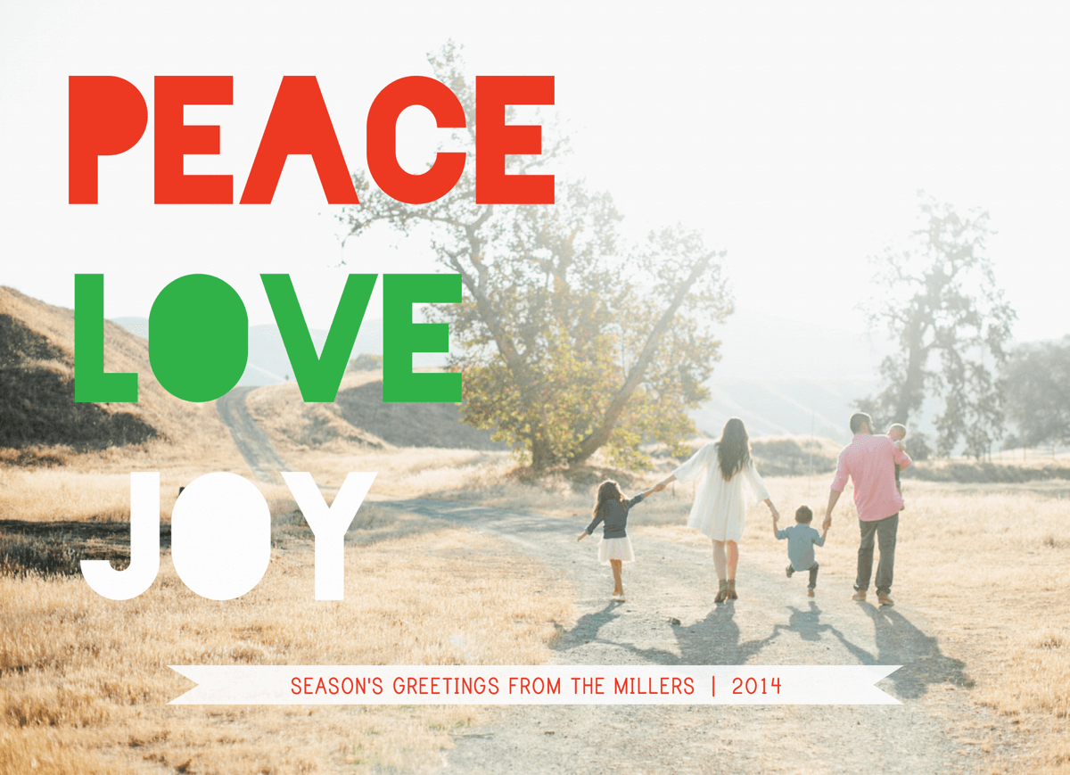 Peace Love Joy Red & green photo holiday card