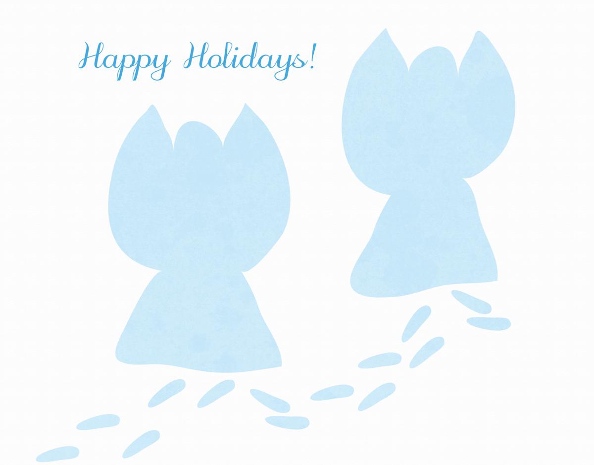 Snow Angels Happy Holidays Card
