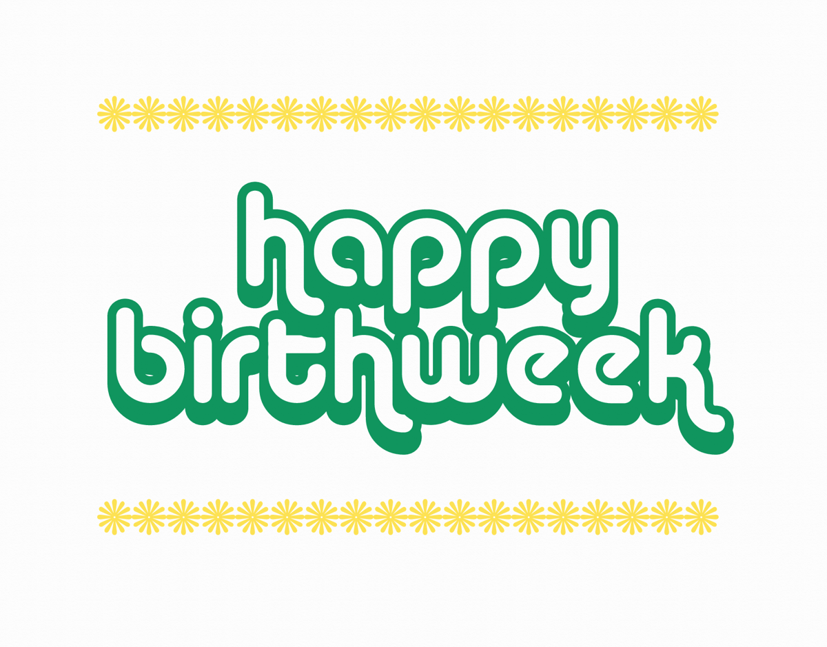 Retro Happy Birth week Card