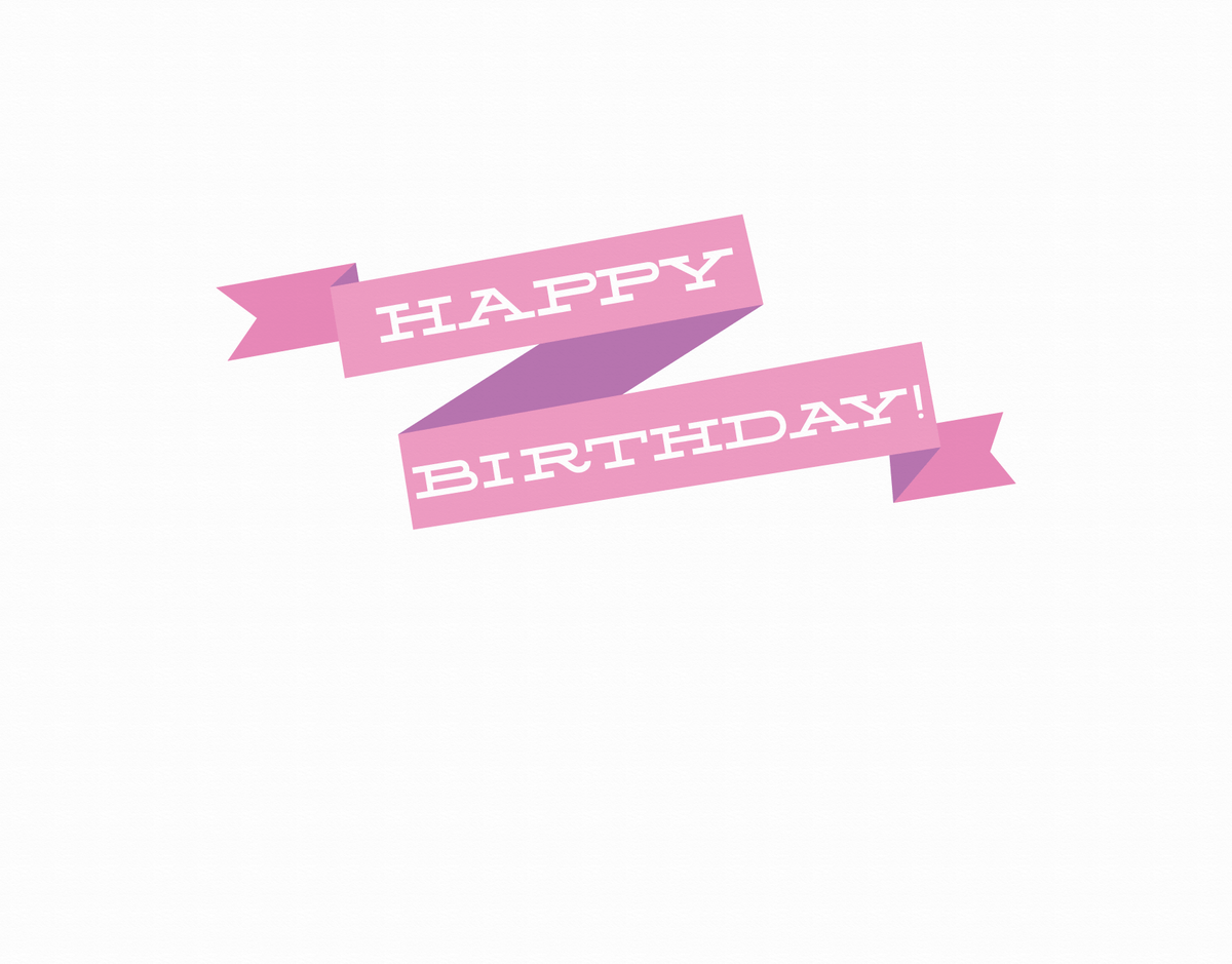 Pink Happy Birthday Ribbon Card