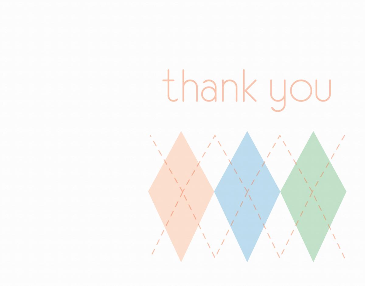 Pastel Argyle Thank You Card
