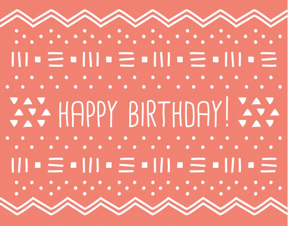 Geometric Red Birthday Card