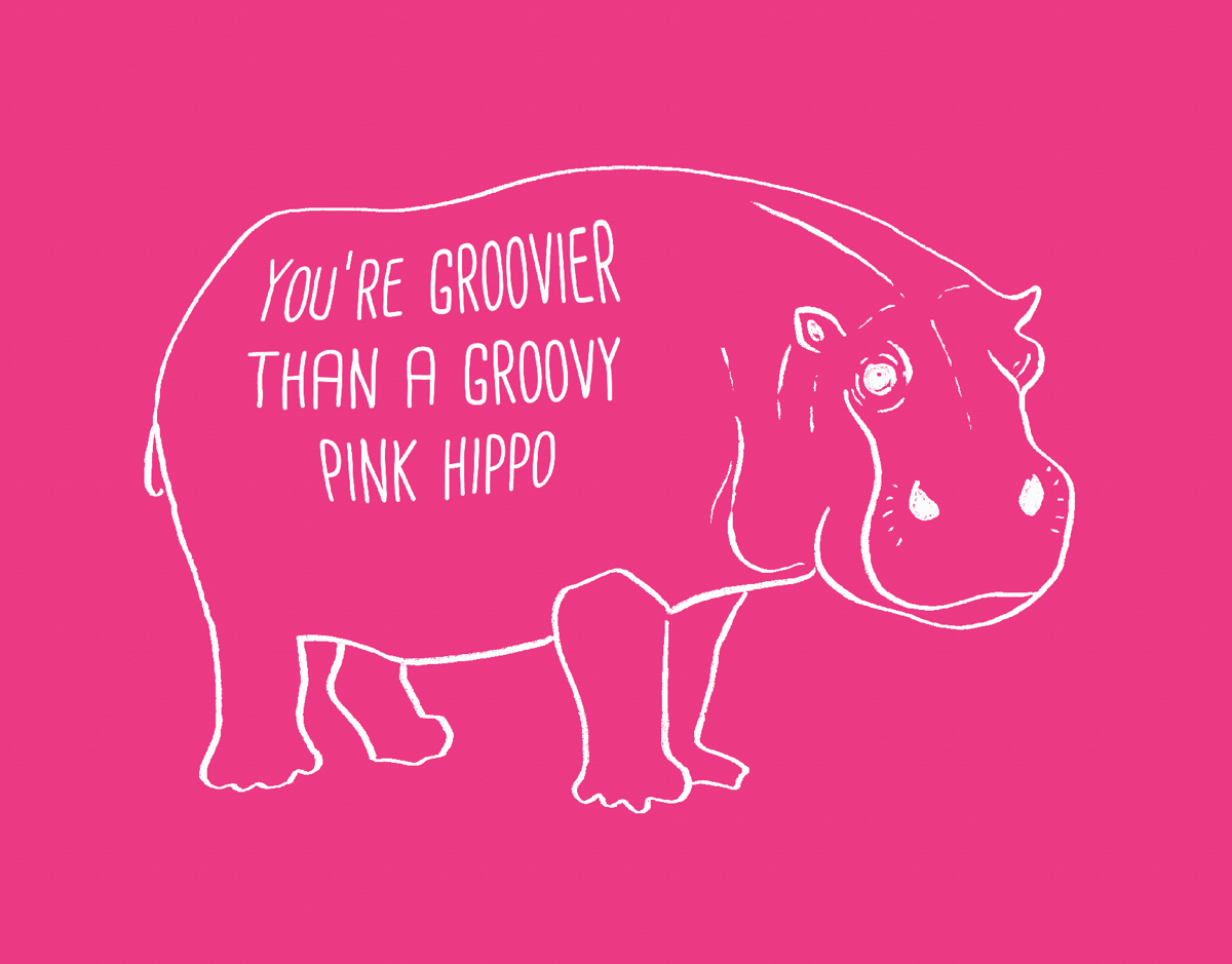 Pink Groovy Hippo Love Card
