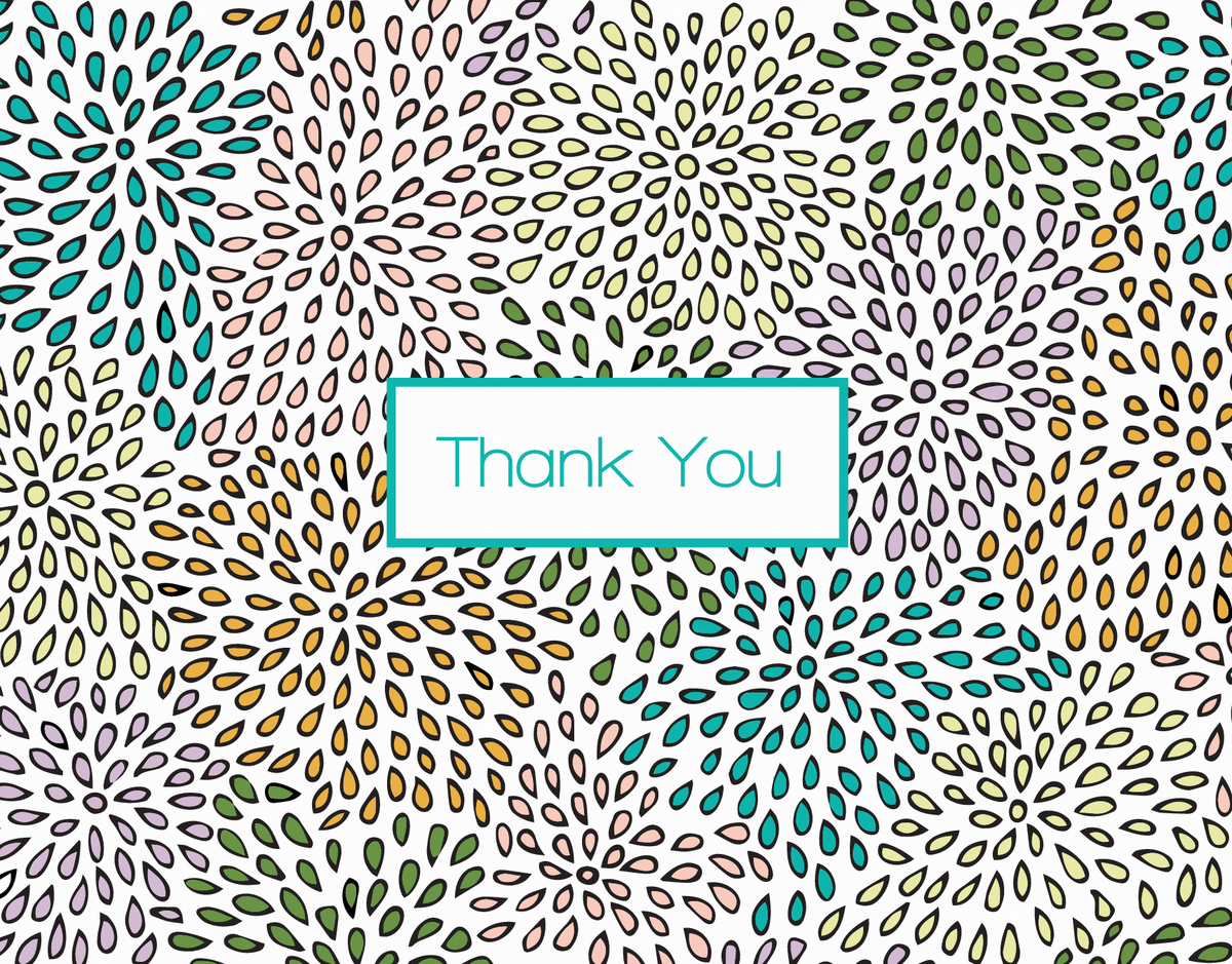 Zinnias patterned thank you card