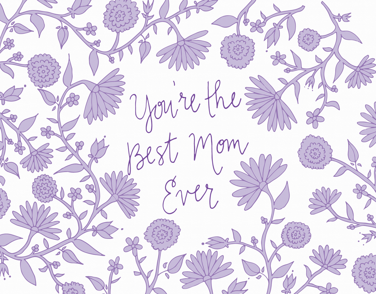 Lavendar floral mother's day card