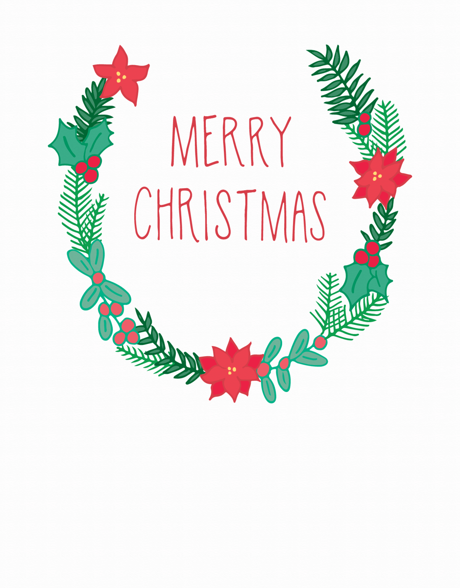 Earthy Merry Christmas Wreath Greeting Card