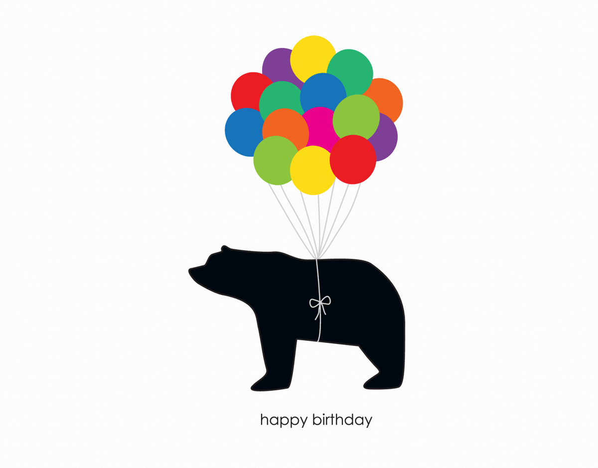 Balloons and bear graphic Birthday Greeting Card