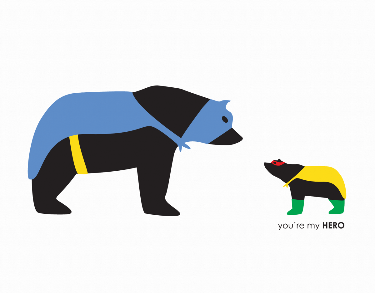 Cute dad and baby bear graphic father's day card