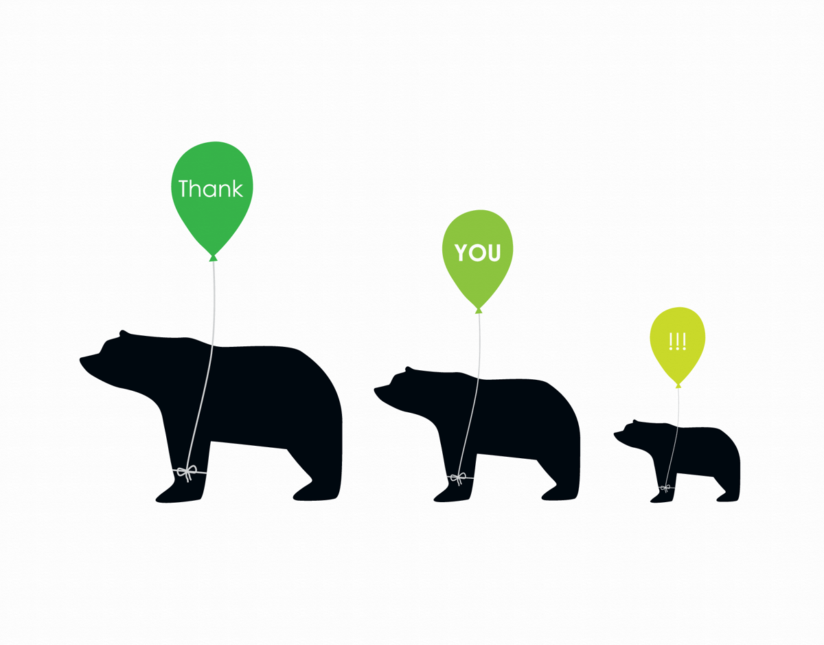 Cute bear graphic with balloons thank you card