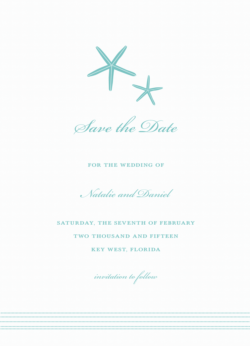 Turquoise Starfish Save the Date