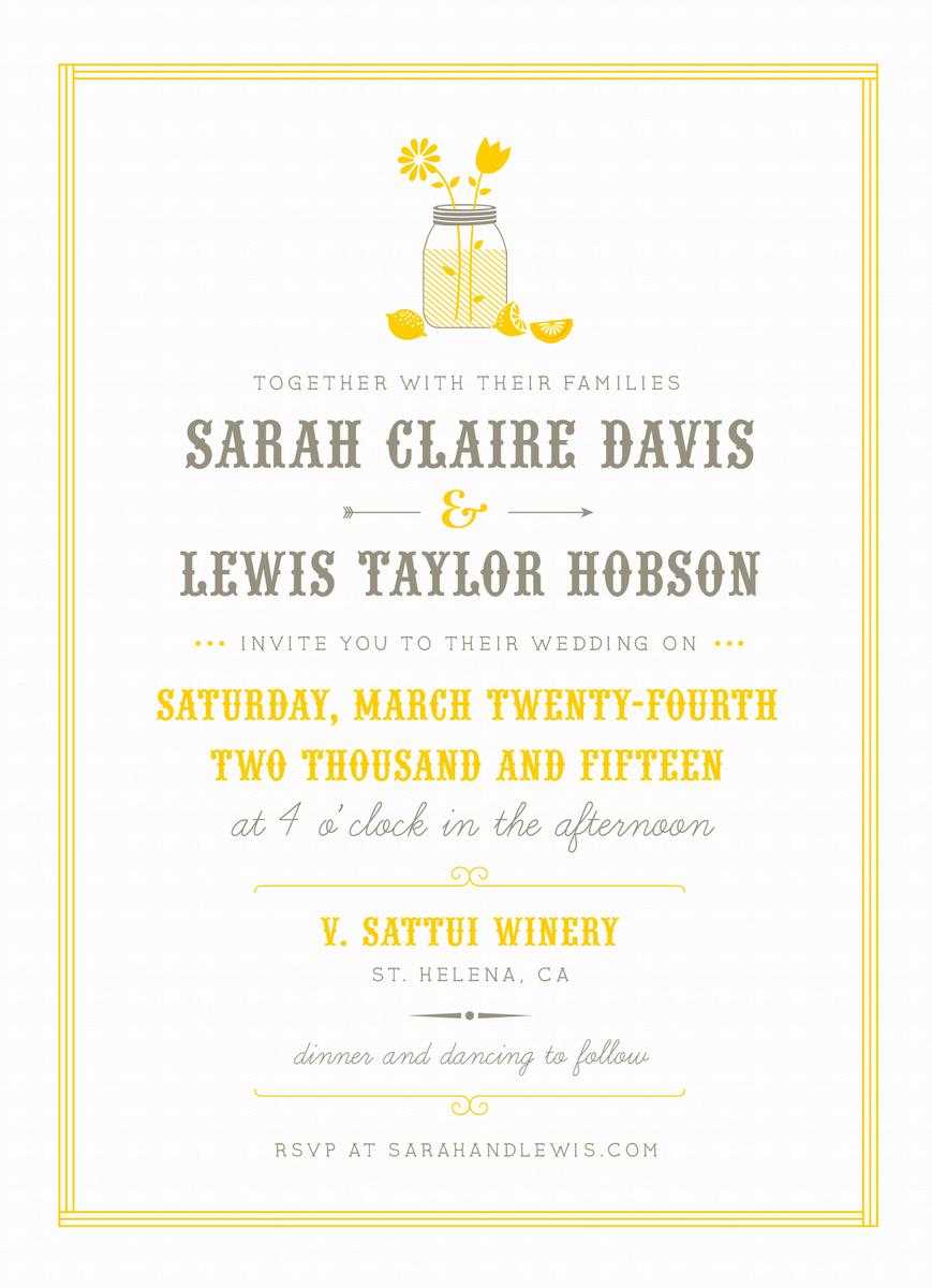 Summer Lemonade Stand Wedding Invitation