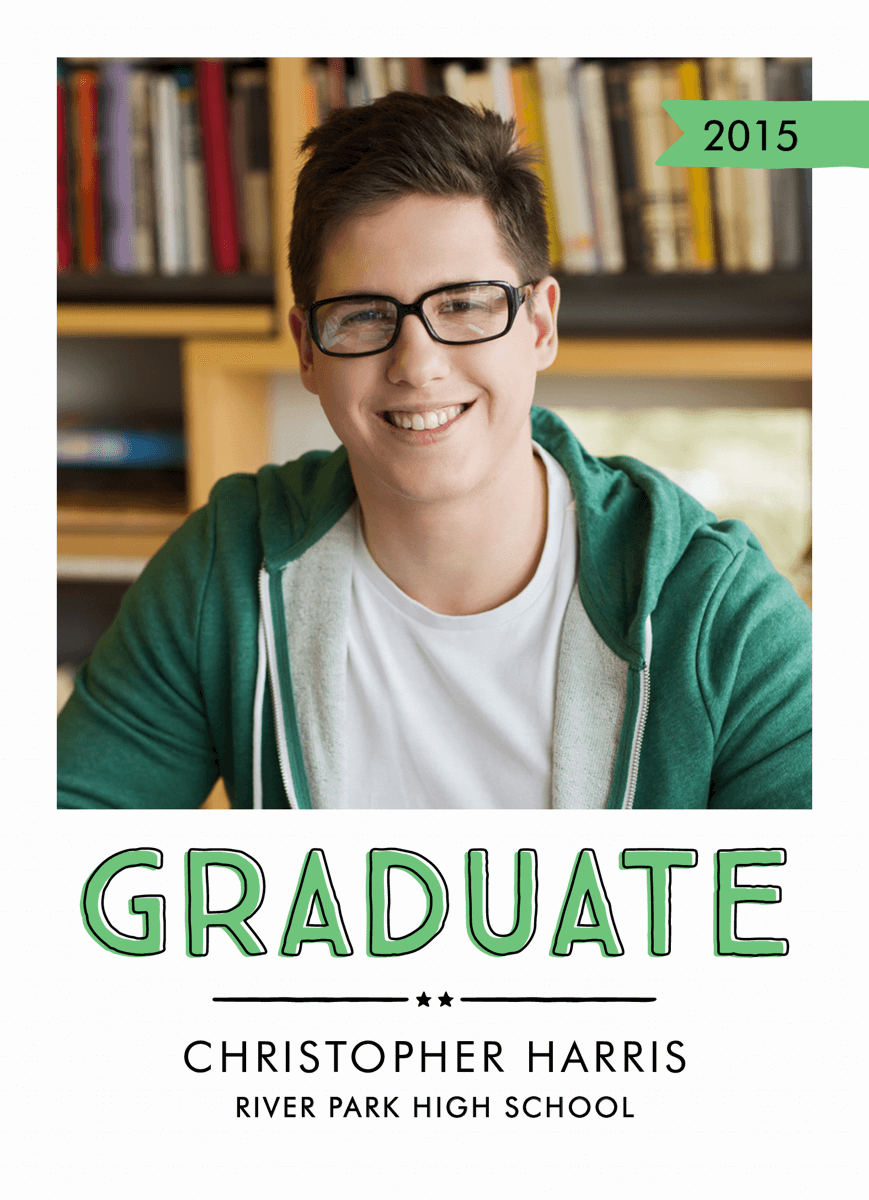 Green Accents Graduation Announcement