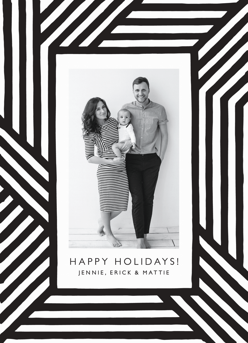 modern bold black and white holiday card