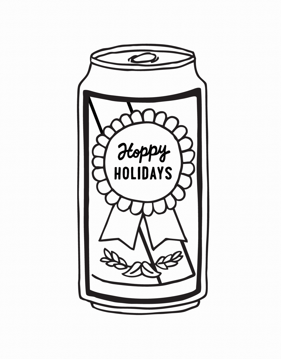 punny black and white happy holidays card