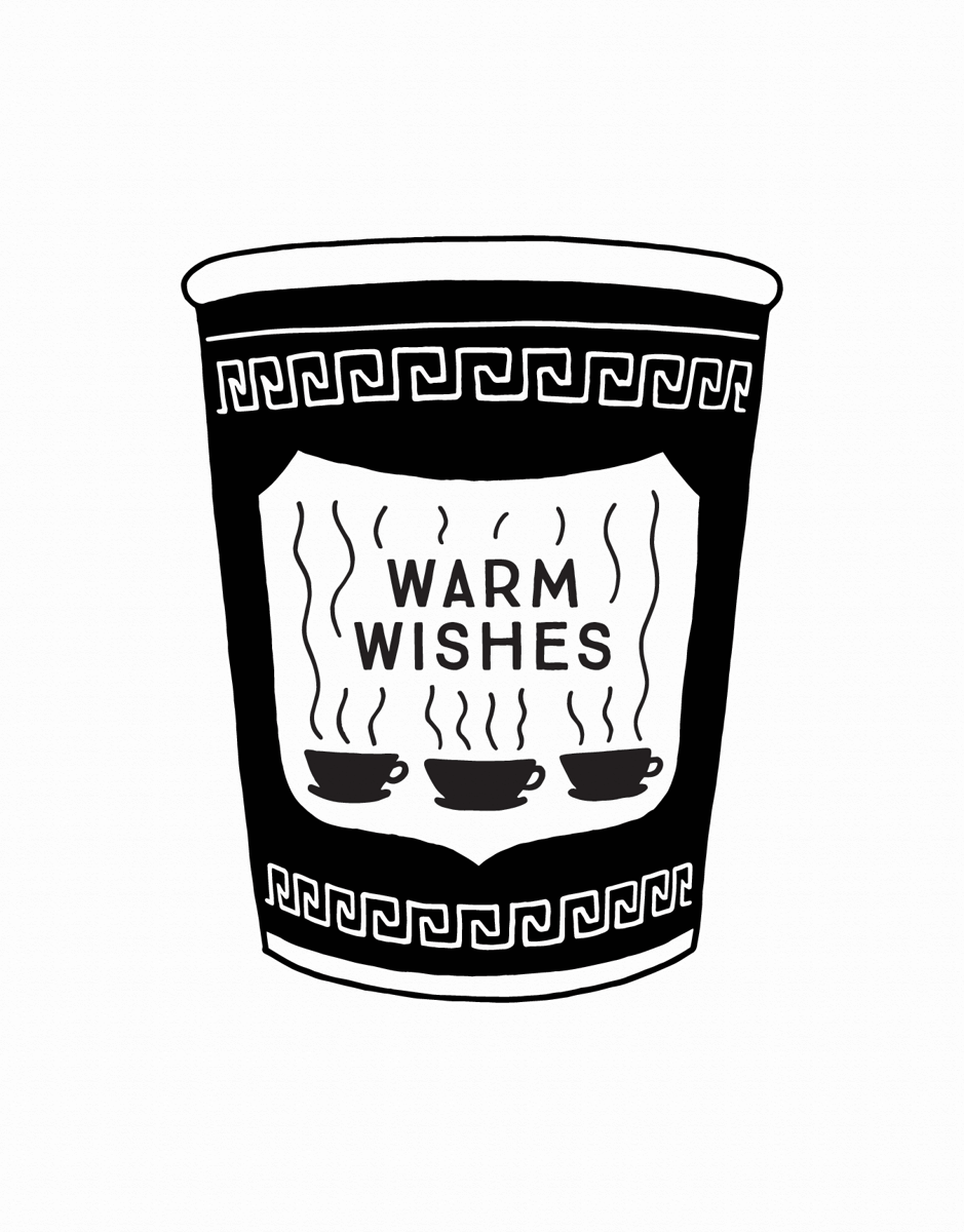 black and white warm wishes card with nyc coffee cup