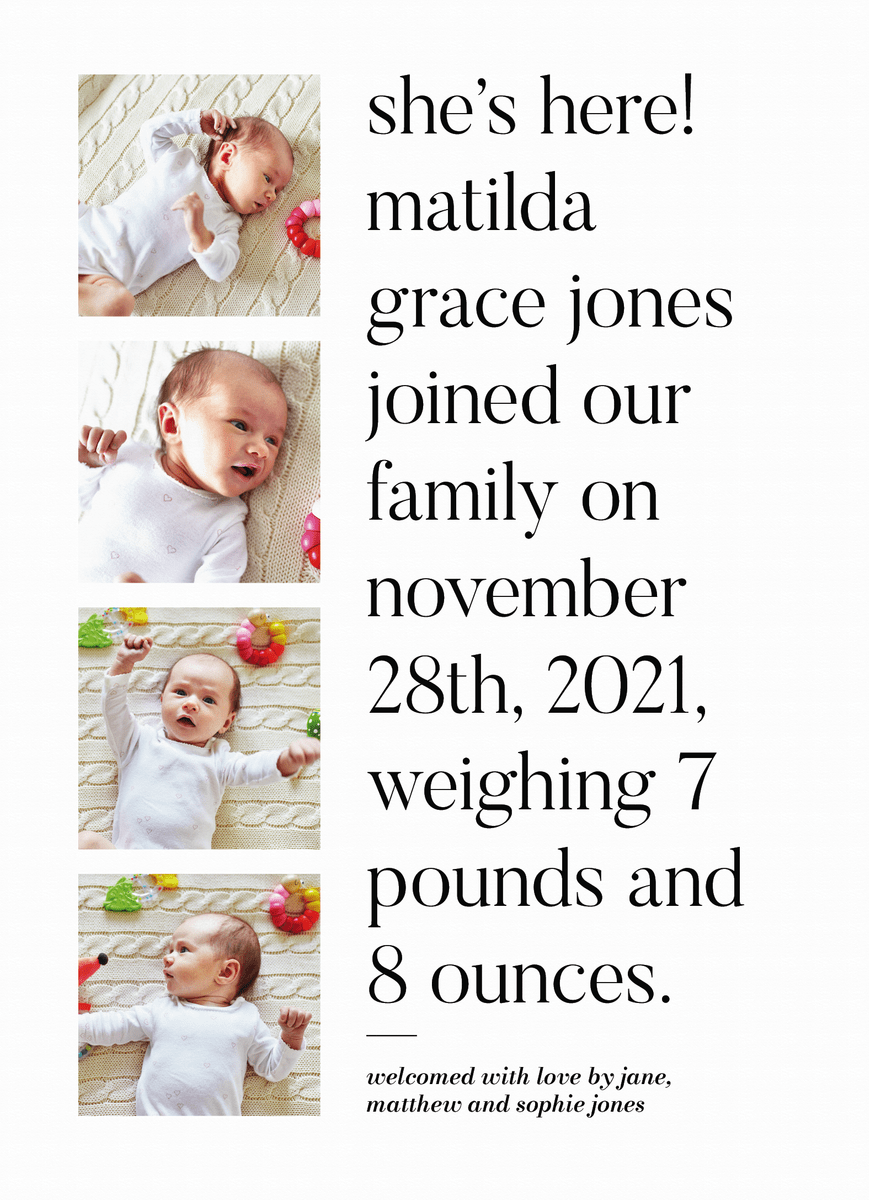 Stacked Photo Announcement