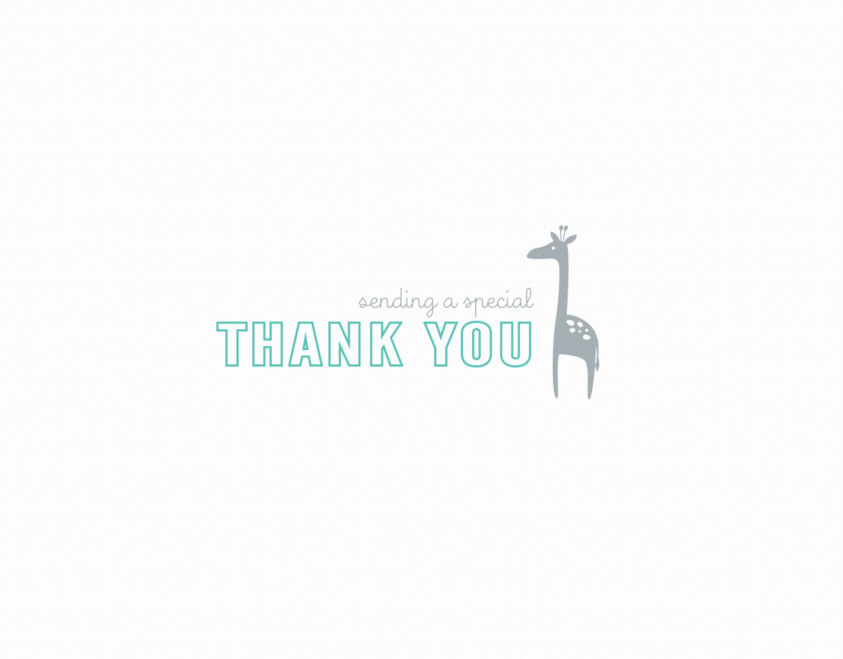 Small Thank You Giraffe Aqua