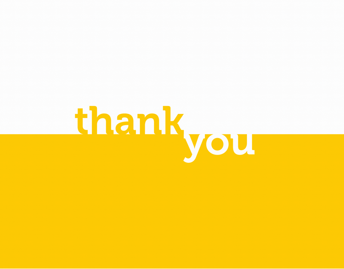 Minimal yellow block thank you card