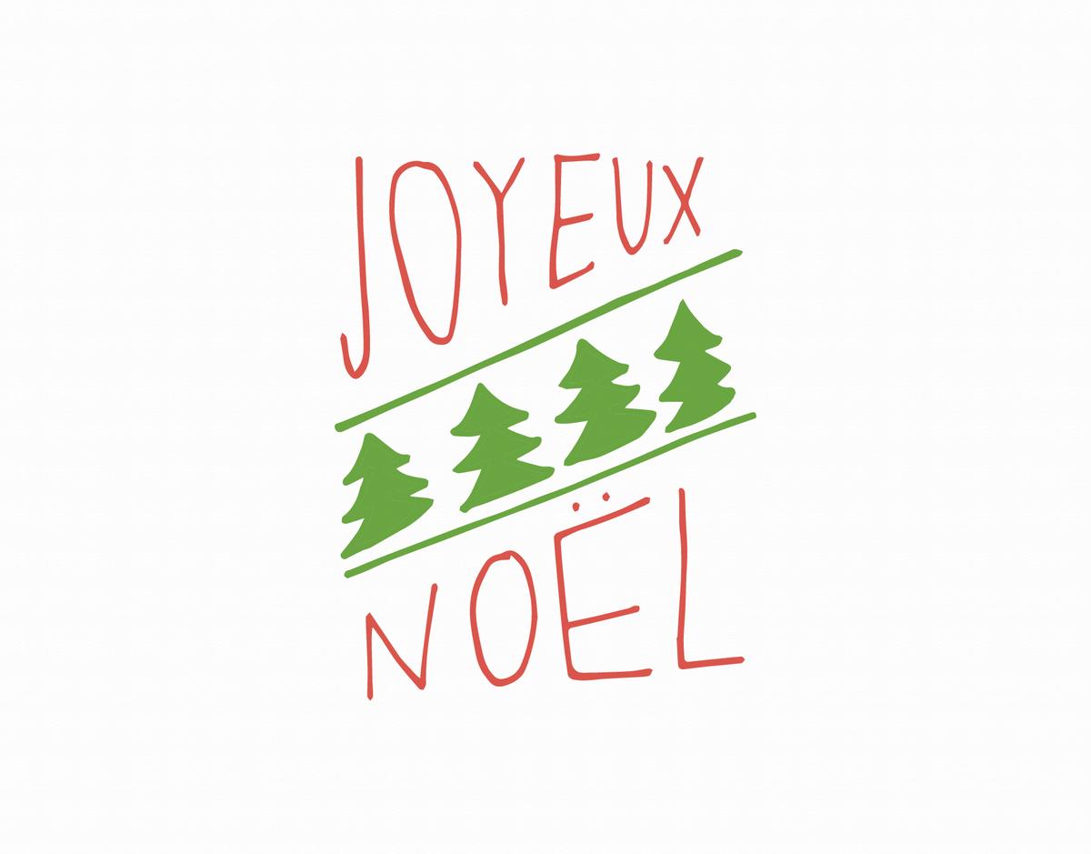 Joyeux Noel Doodle Christmas Card