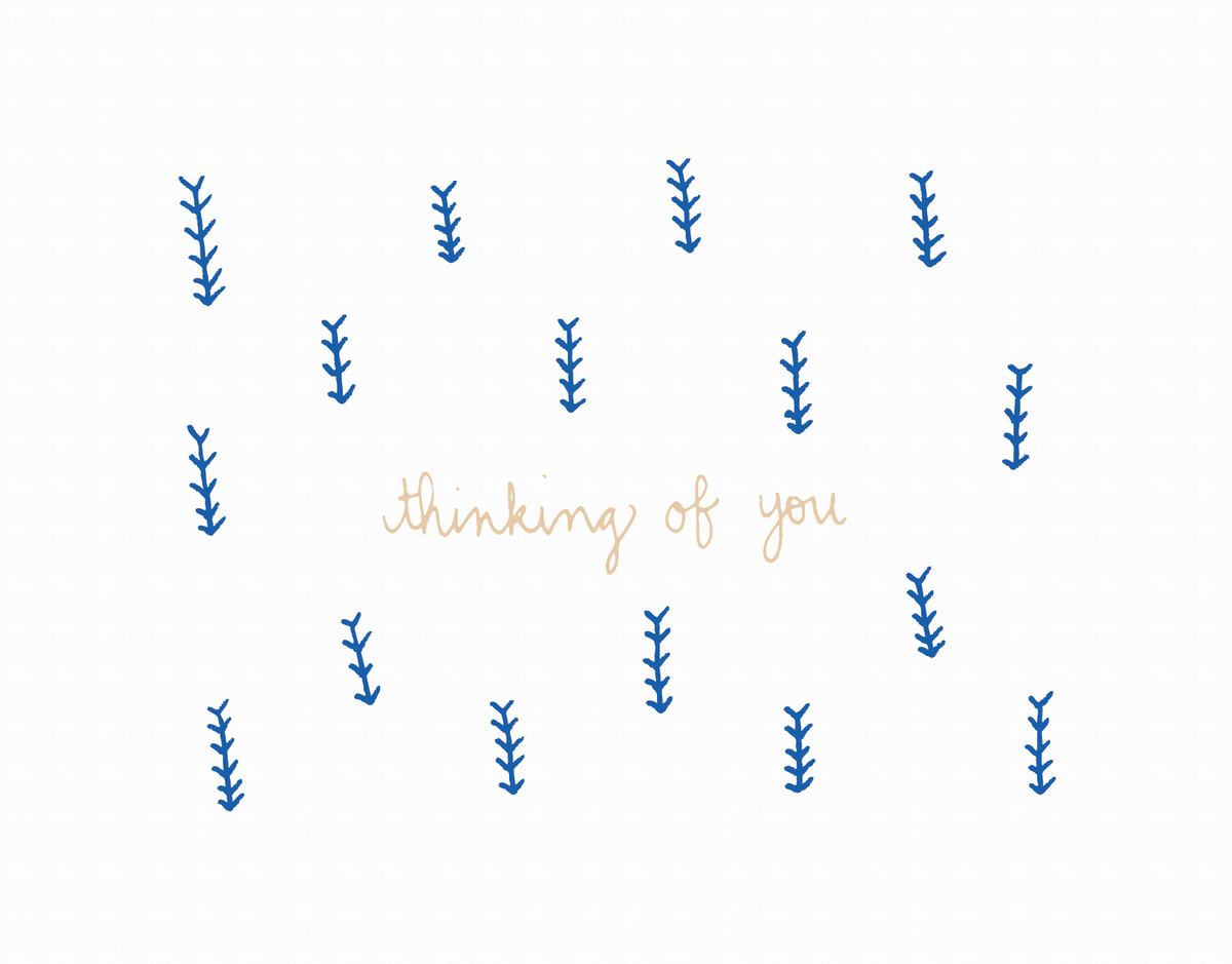 Blue Arrow Drawing Thinking of You Card
