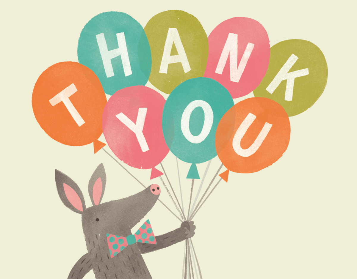 Vintage Hand Painted Balloon Thank You Card