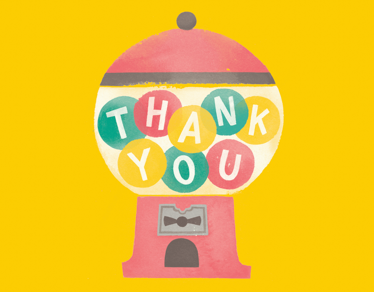 Retro Gumballs Thank You Card